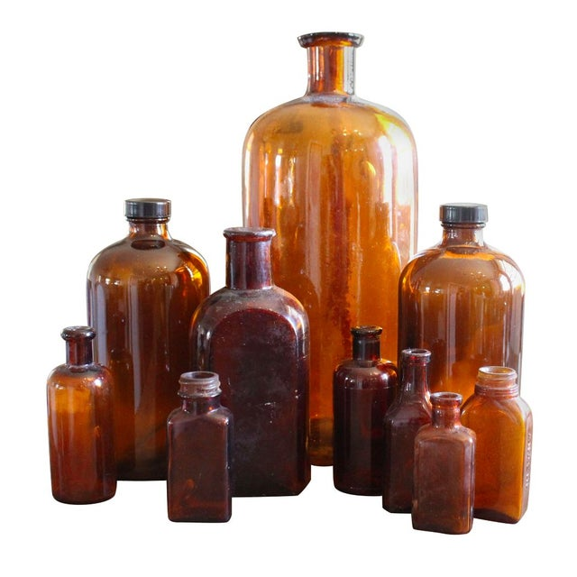 Image of Collection of Brown Glass Medicine Bottles