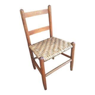 Vintage Child's Rustic Woven Splint Seat Chair