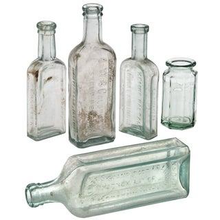 Vintage Aqua Glass Display Bottles - Set of 5