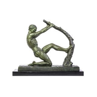 "John Roncourt Art Deco ""Human Force"" Bronze Sculpture"
