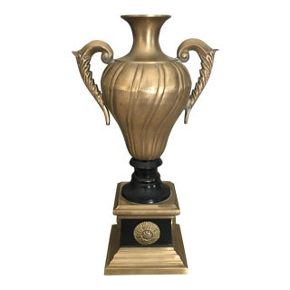 Vintage Neoclassical Brass & Wood Vase