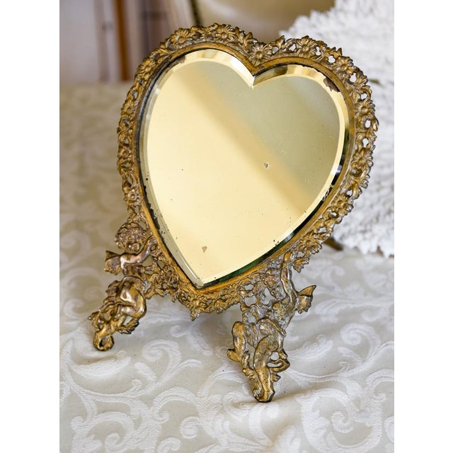 Large Victorian Heart-Shaped Easel Mirror - Image 2 of 6