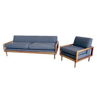 In the Style of T.H. Robsjohn-Gibbings Mid-Century Sofa & Armchair Set