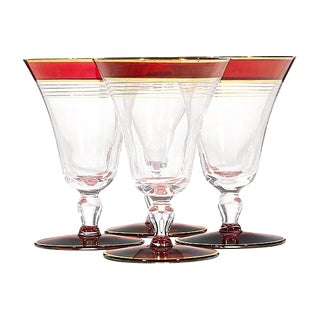 Art Deco Cranberry & Gilt Stems - Set of 4