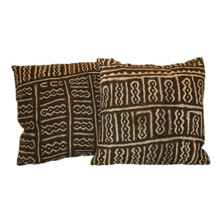 African Mud Cloth Pillows - A Pair