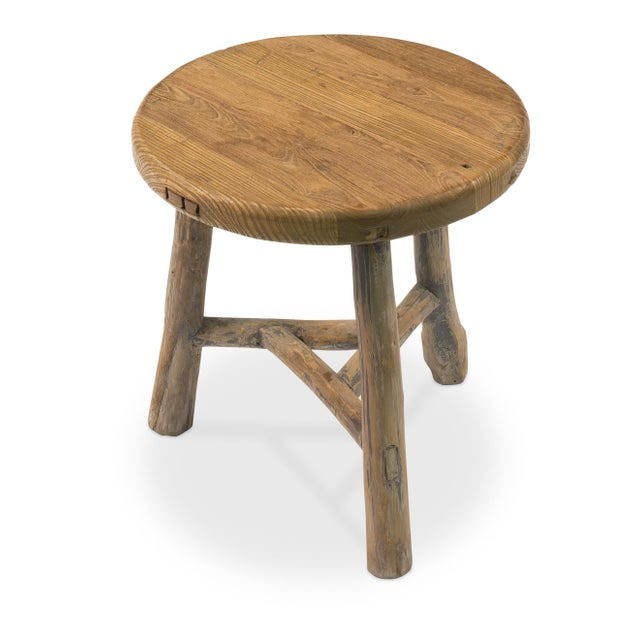 Antique Sarreid LTD Elm Round Side Table - Image 3 of 5