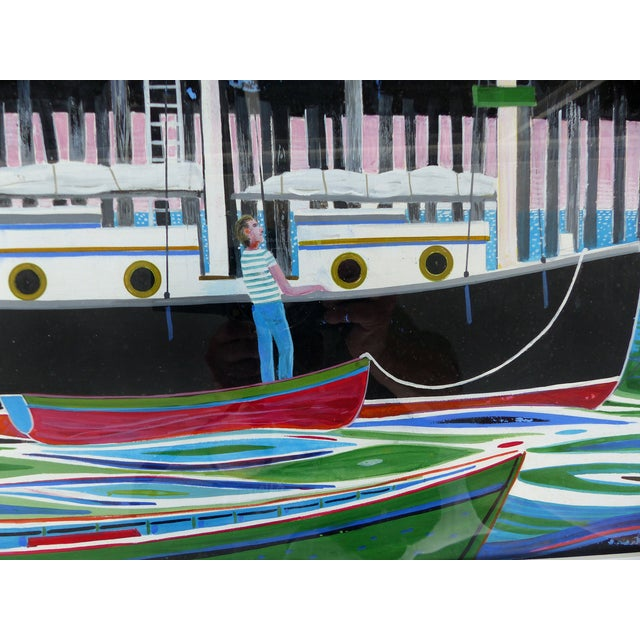 Mid-Century Modern Nautical Gouache Painting - Image 2 of 9
