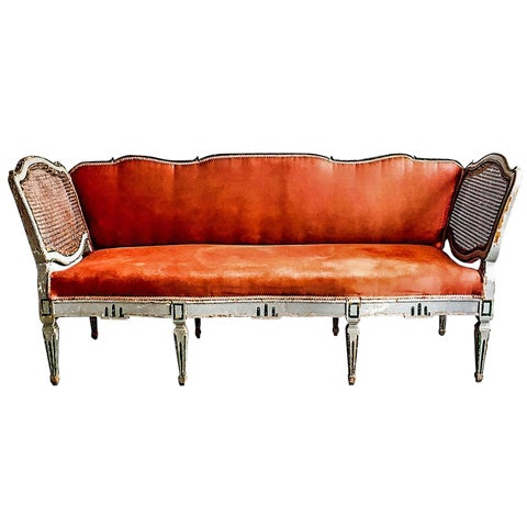 Image of Antique European Caned & Painted Sofa