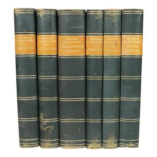 Antique Leather-Bound Books S/6