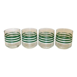 Vintage Green & White Striped Glasses - Set of 4