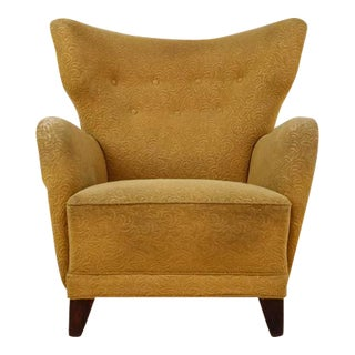 Danish Wingback Lounge Chair with Yellow Upholstery, 1940s