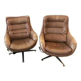 Vintage Overman Sweden Leather Egg Chairs - A Pair