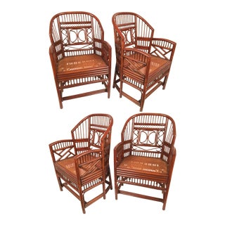 Vintage Brighton Chinoiserie Bamboo Armchairs - Set of 4