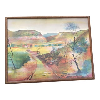 Framed Colorful Landscape Lithograph