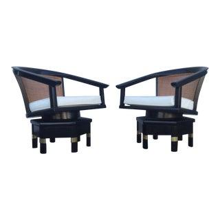 Jim Peed Mid-Century Cane Swivel Chairs - A Pair