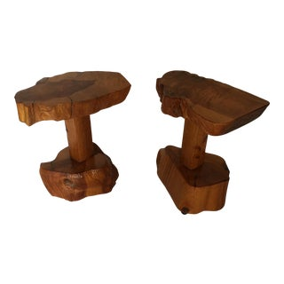 Craftsman Folk Art Carved Wood Tables - A Pair