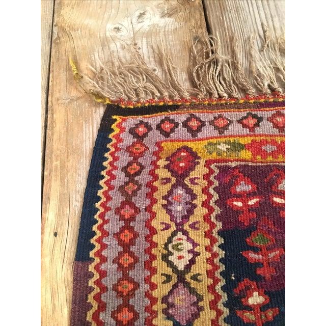 "Vintage Red & Purple Senneh Kilim - 3'4"" X 4'5"" - Image 6 of 9"
