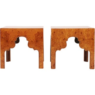 Drexel Burl Silhouette Occasional Tables - a Pair