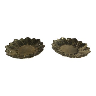 Italian Brass Flower Shape Decorative Candle Drip Tray S/2