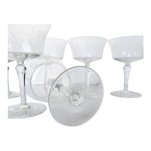 Etched Floral Pattern Crystal Coupe - Set of 6 - Image 5 of 7