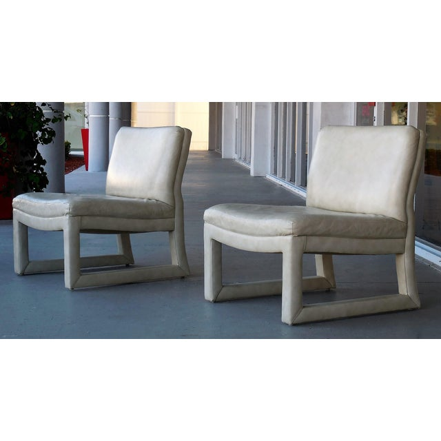 Michael Taylor for Baker Leather Lounge Chairs - A Pair - Image 2 of 6