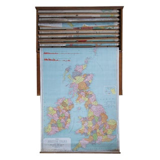 Antique 1900s Pull Down Map of British Isles