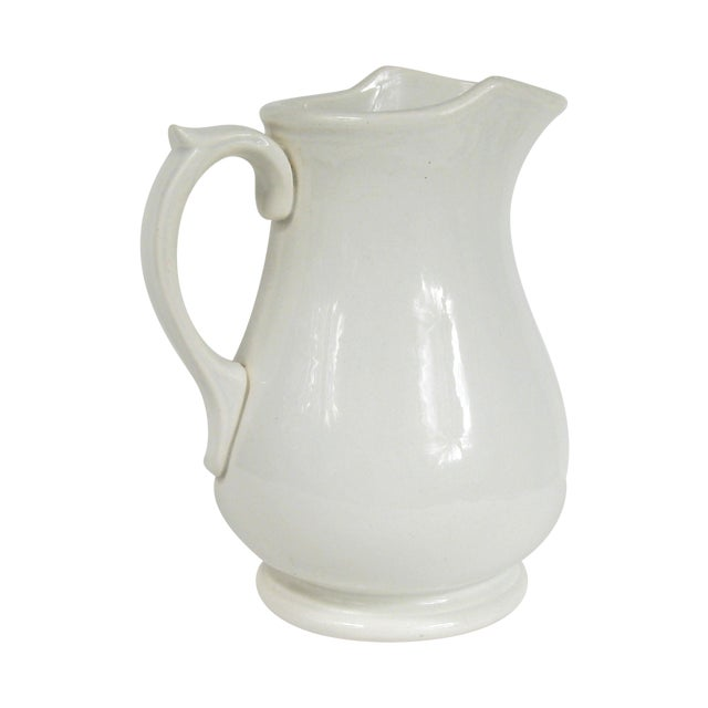 Vintage White Ceramic Pitcher Chairish