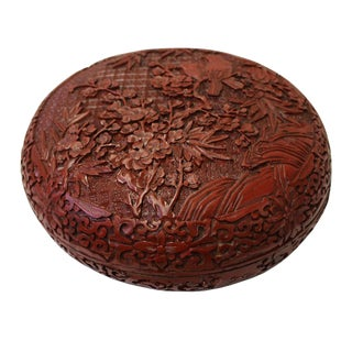 Chinese Red Resin Round Floral Carving Accent Box