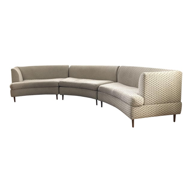 Curved Keller-Williams Vintage Mid Century Sectional Sofa - 3 Pieces - Image 1 of 9