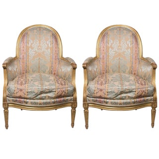 Pair of 19th Century French Bergere Giltwood Upholstered Chairs