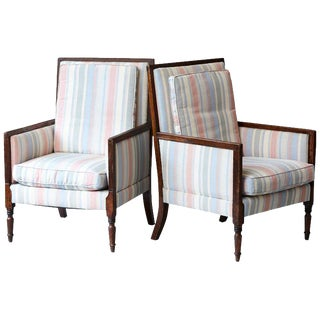 Pair of Italian Neoclassical Style Bergères in Pastel Striped Moiré Taffeta