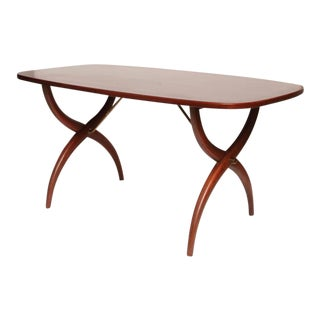 Swedish Yngve Ekström for Westbergs Rosewood & Brass Curved Leg Coffee Table
