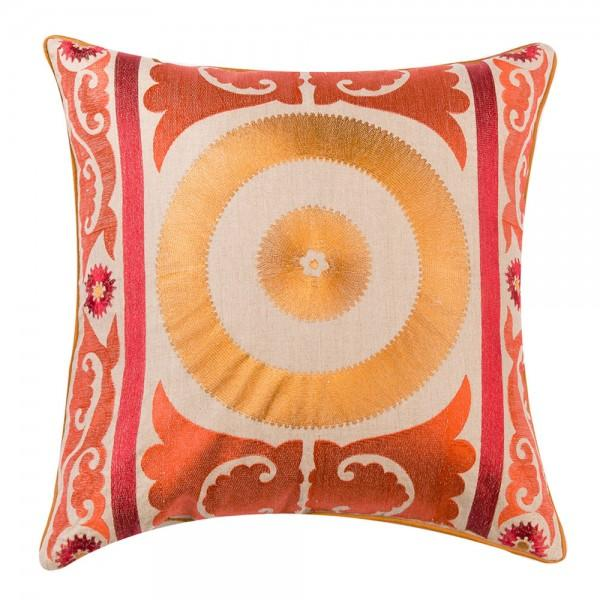 Orange Embroidered Moroccan Pillow - Image 1 of 2