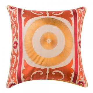 Orange Embroidered Moroccan Pillow