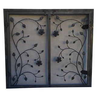 Black Iron Firescreen with Floral Motif