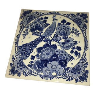 Delft Blue Peacock & Flowers Tile