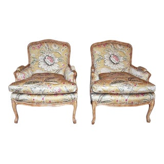Bleached Bergere Armchairs Pair