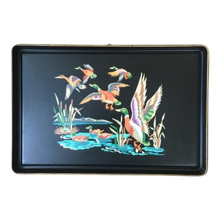 Vintage Mid-Century Painted Tole Tray With Ducks