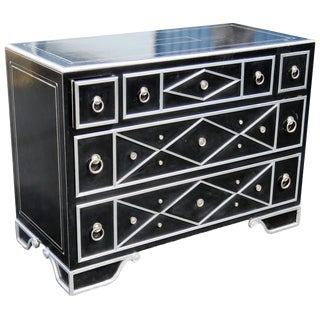 Maitland Smith Black Leather & Chrome Chest of Drawers