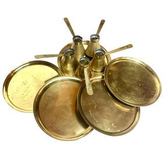 Antique Turkish Brass Coffee Service - 10 Pieces