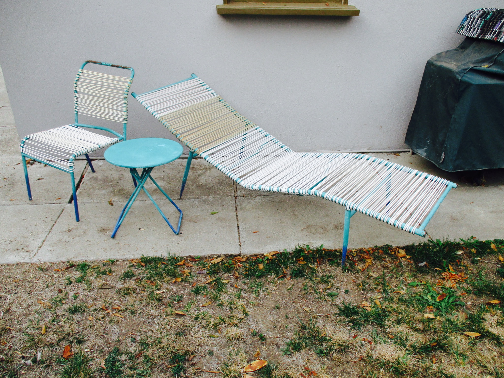 1960s Surfline Walter Lamb Cord Patio Set   S/3 Chaise Lounge Chair Table  Furniture