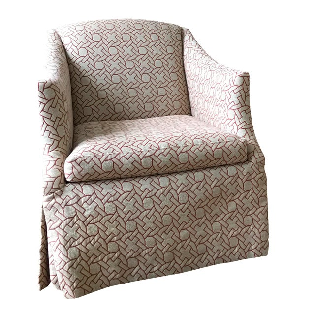 Geometric Pattern Swivel Club Chair - Image 1 of 5