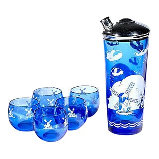 Cobalt Windmill Cocktail Set - Set of 6