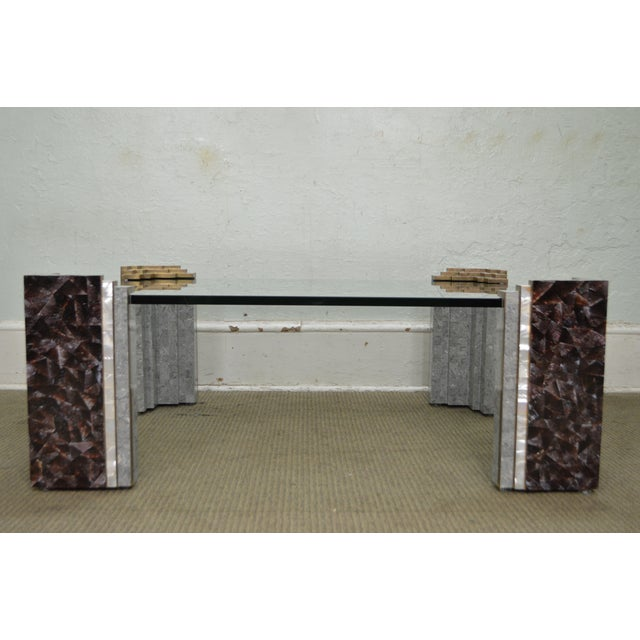 Maitland Smith Tessellated Marble & Stone Glass Top Large Coffee Table - Image 3 of 10