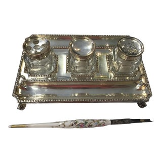 18th C. Sheffield Silver Plate Inkstand
