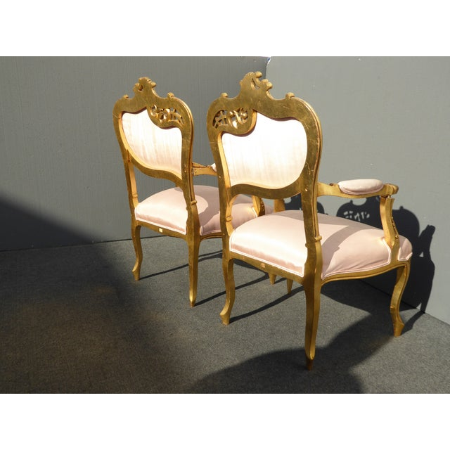 Vintage French Rococo/Louis XV Style Giltwood Accent Chairs- A Pair - Image 5 of 11