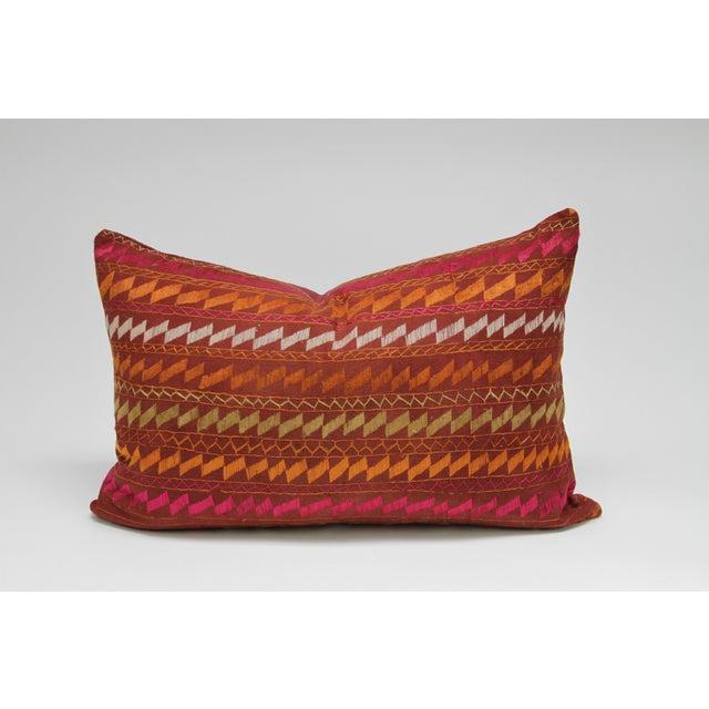 Ceremonial Bagh Phulkari Lumbar Pillow - Image 3 of 3