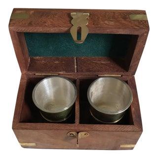 Vintage Shot Glasses & Wooden & Brass Box - Set of 3