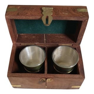 Vintage Shot Glasses & Wooden & Brass Box - Set of 3