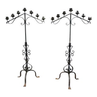 Antique Gothic Mission Arts & Crafts Wrought Iron Candelabras - a Pair